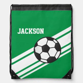 Green Soccer Stripes Drawstring Bag