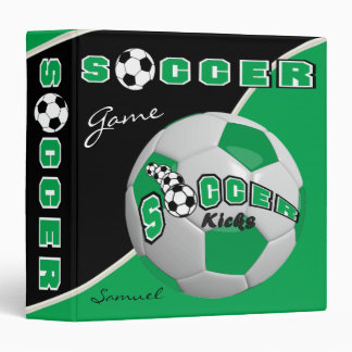 Green Soccerball Game | Personalize 3 Ring Binder