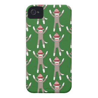 Green Sock Monkey Print iPhone 4 Cases