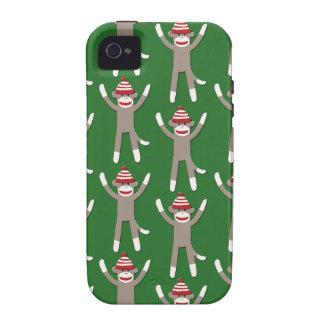 Green Sock Monkey Print Vibe iPhone 4 Case