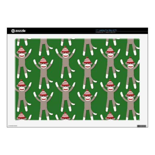 Green Sock Monkey Print Laptop Skin