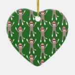 Green Sock Monkey Print Double-Sided Heart Ceramic Christmas Ornament