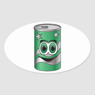 Green Soda Can Cartoon Stickers