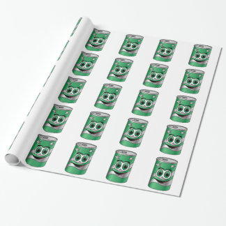 Green Soda Can Cartoon Wrapping Paper