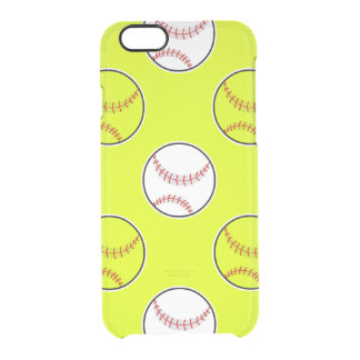 Green Softball Pattern Uncommon Clearly™ Deflector iPhone 6 Case
