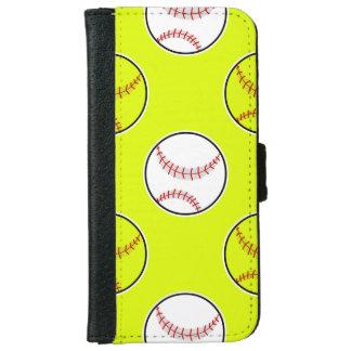 Green Softball Pattern iPhone 6 Wallet Case