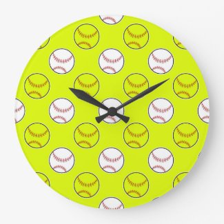Green Softball Pattern Round Clocks