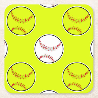 Green Softball Pattern Square Paper Coaster