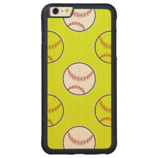 Green Softball Pattern Carved® Maple iPhone 6 Plus Bumper Case