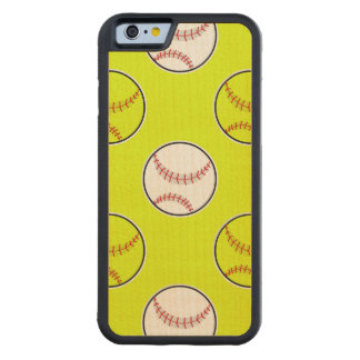 Green Softball Pattern Carved® Maple iPhone 6 Bumper Case