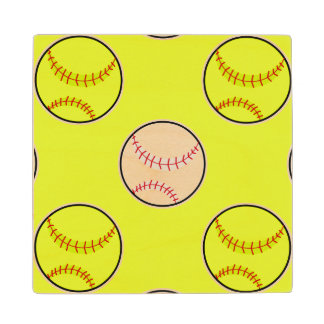 Green Softball Pattern Wood Coaster