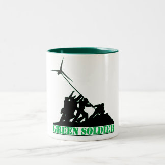 Green Soldier Windmill Two-Tone Coffee Mug