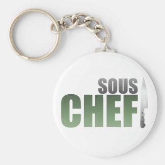 Green Sous Chef Basic Round Button Keychain