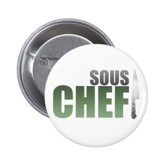 Green Sous Chef Pinback Buttons
