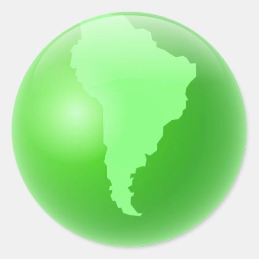Green South America Globe Classic Round Sticker