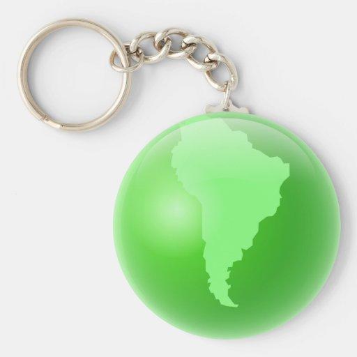 Green South America Globe Keychain