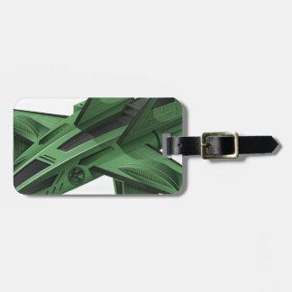 Green spaceship on white background bag tag