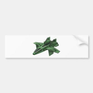 Green spaceship on white background bumper sticker