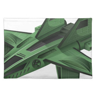 Green spaceship on white background placemat