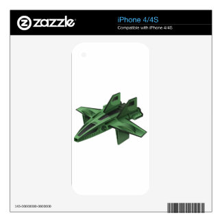 Green spaceship on white background skins for the iPhone 4S