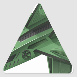 Green spaceship on white background triangle sticker