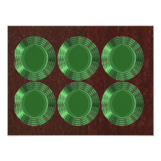 GREEN Sparkle BUTTONS Dice Disc Disk Decorations Poster