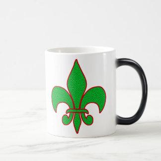 Green Sparkle Fleur de Lis Magic Mug