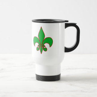 Green Sparkle Fleur de Lis Travel Mug