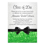 Green Sparkle-look Bow Graduation Invitation