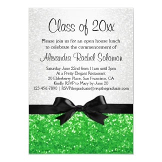 "Green Sparkle-look Bow Graduation Invitation 5"" X 7"" Invitation Card"