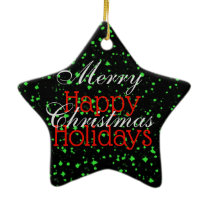 Green Sparkle Merry Christmas Happy Holidays Ceramic Ornament