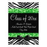 Green Sparkle Zebra Bow Graduation Invite