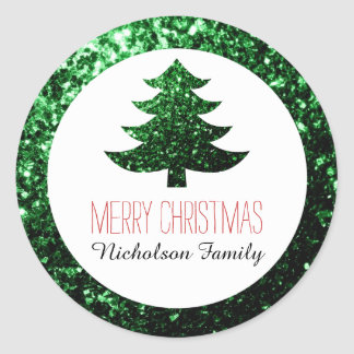 Green sparkles Christmas tree Gift Tag Classic Round Sticker