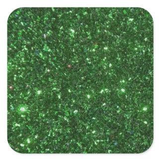 Green Sparkles Square Sticker