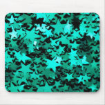 Green Sparkly Stars Mouse Pad