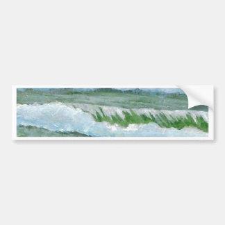 Green Sparkly Waves - CricketDiane Ocean Art Bumper Sticker