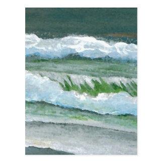 Green Sparkly Waves - CricketDiane Ocean Art Postcard
