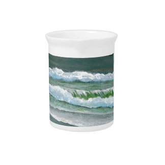 Green Sparkly Waves Ocean Sea Beach Decor Gifts Beverage Pitchers