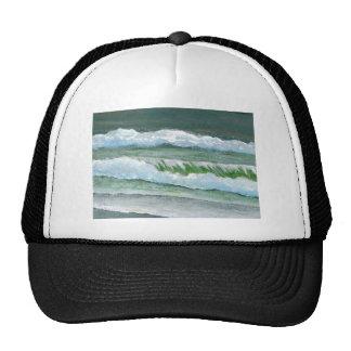 Green Sparkly Waves Ocean Sea Beach Decor Gifts Trucker Hat