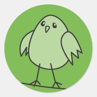 green sparrow classic round sticker