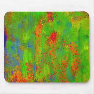 Green speckles with red & blue dots of color mouse pad