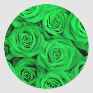 Green Spectacular Roses Classic Round Sticker