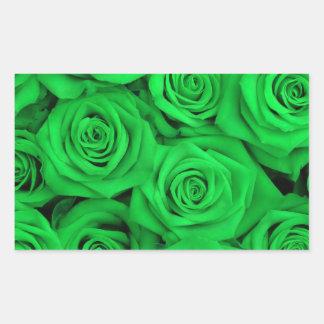 Green Spectacular Roses Rectangular Sticker