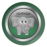 """Green Sphere -  Elephant 10"""" Personalized Plate"""