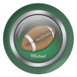 """Green Sphere - Football 10"""" Personalized Plate"""