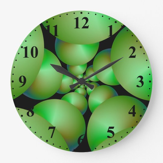 Green Sphere Spiral Wall Clock w Numbers