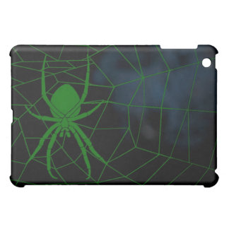 Green spider in web, webbing case for the iPad mini