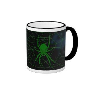Green spider in web, webbing ringer coffee mug