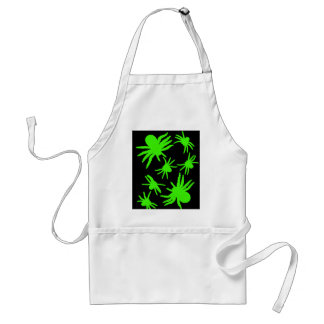 Green Spiders With Black Background Adult Apron