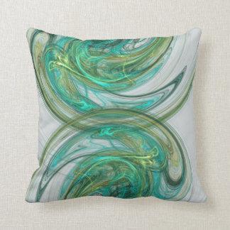 Green Spinning Waves Throw Pillow